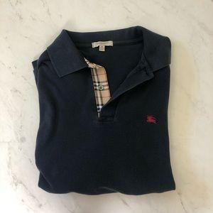 Burberry London Men's Check Navy Cotton Pool Shirt